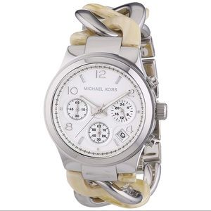 Michael Kors Runway Twist Horn & Silver Link Watch